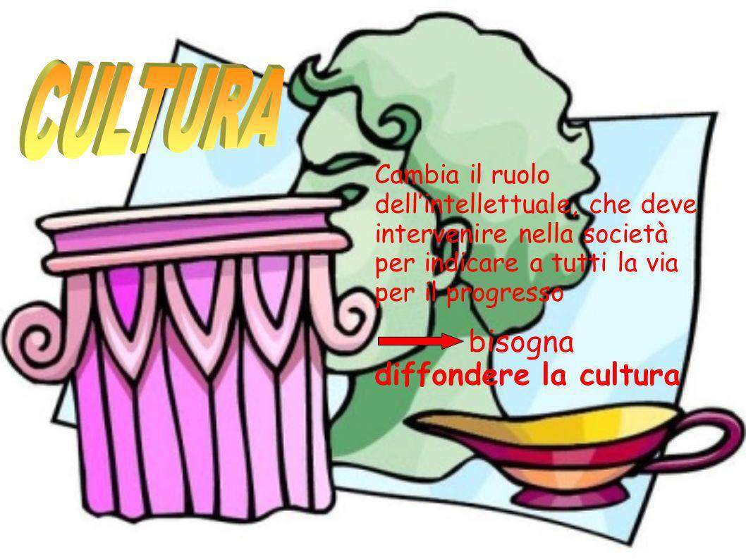 Cambia il ruolo dellintellettuale, che deve intervenire nella società per indicare a tutti la via per il progresso bisogna diffondere la cultura