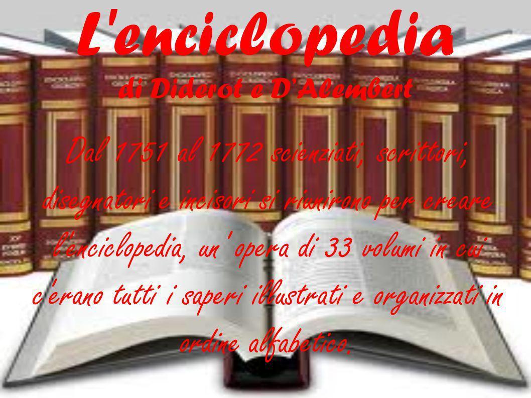 L enciclopedia di Diderot e DAlembert Dal 1751 al 1772 scienziati, scrittori, disegnatori e incisori si riunirono per creare l enciclopedia, un opera di 33 volumi in cui c erano tutti i saperi illustrati e organizzati in ordine alfabetico.