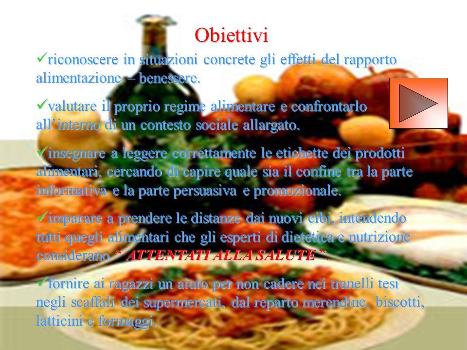 Obiettivi riconoscere in situazioni concrete gli effetti del rapporto alimentazione – benessere.