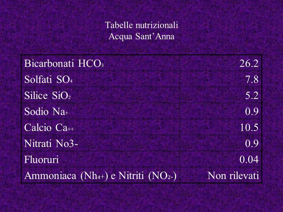 Etichette degli alimenti NomeSantAnna MarcaSantAnna IngredientiBicarbonati, solfati, silice, nitriti, sodio, calcio, nitrati, fluoruri, ammoniaca Data