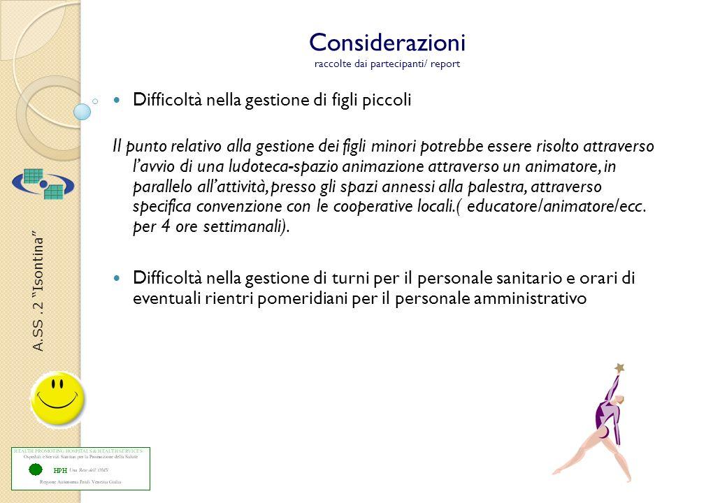 A.SS.2 Isontina Considerazioni raccolte dai partecipanti/ report Difficoltà nella gestione di figli piccoli Il punto relativo alla gestione dei figli