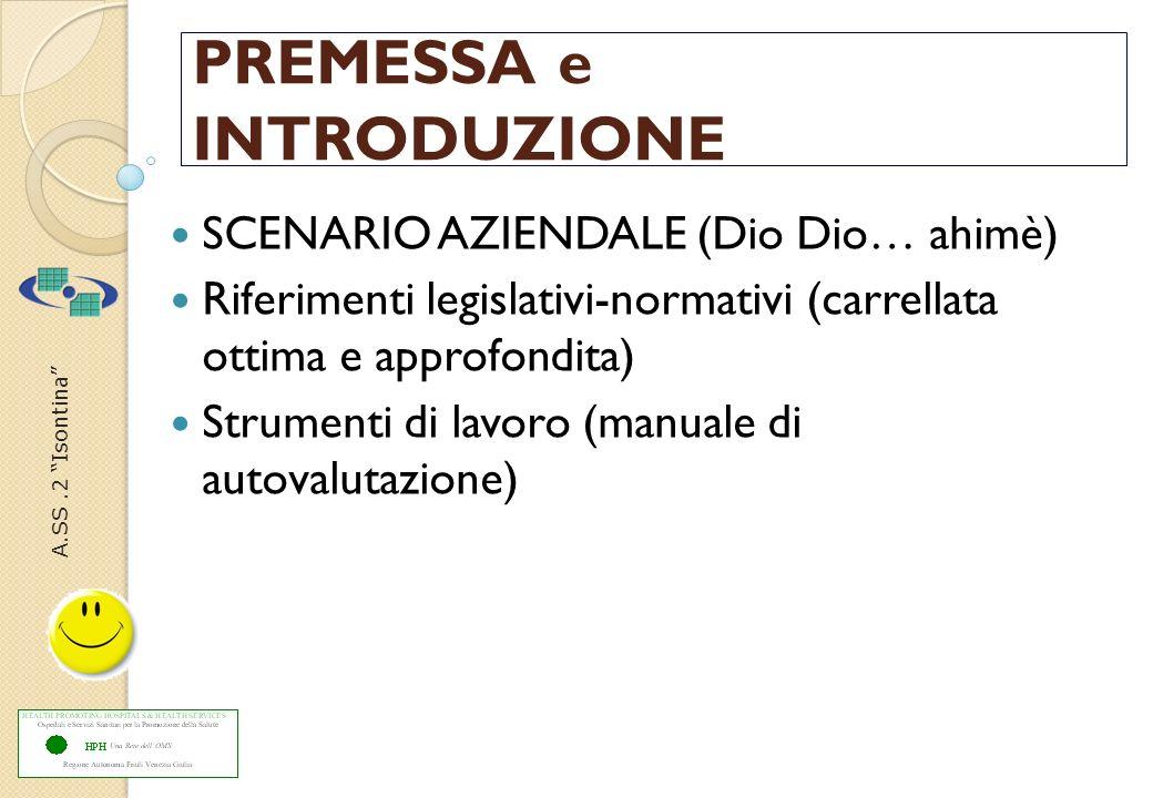 A.SS.2 Isontina PREMESSA e INTRODUZIONE SCENARIO AZIENDALE (Dio Dio… ahimè) Riferimenti legislativi-normativi (carrellata ottima e approfondita) Strum