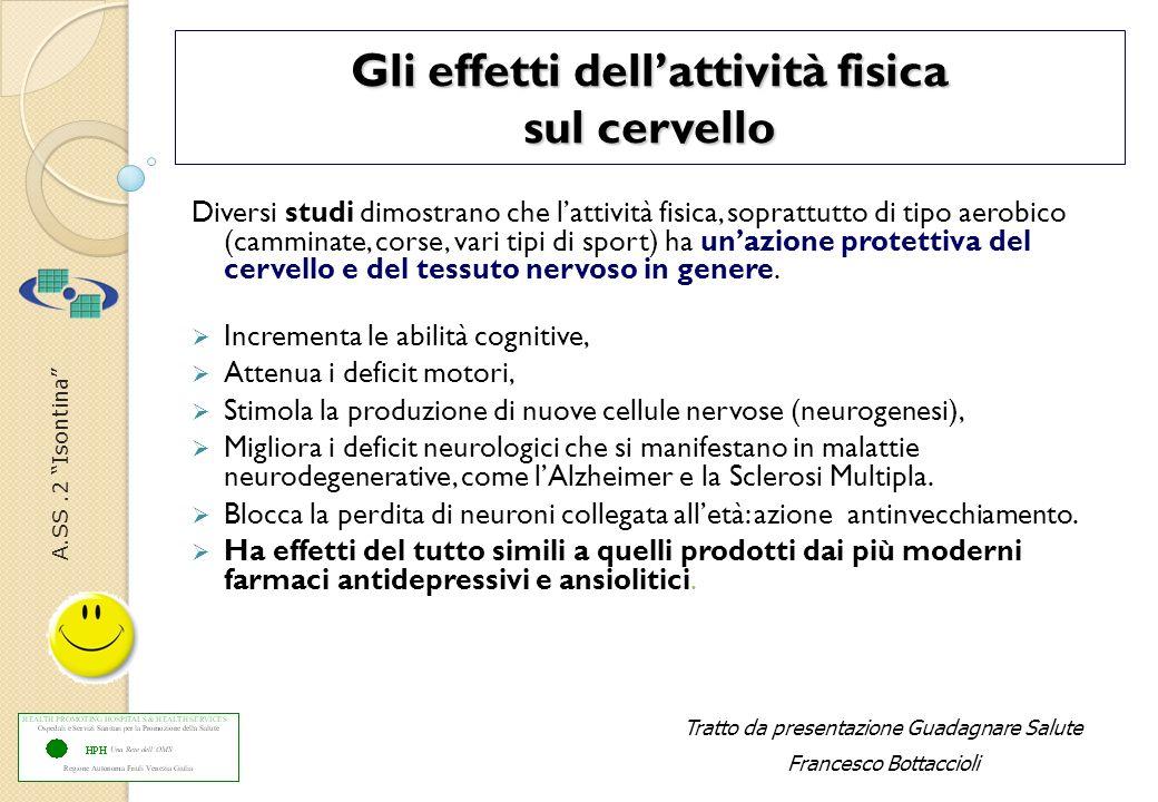 A.SS.2 Isontina Gli effetti dellattività fisica sul cervello Diversi studi dimostrano che lattività fisica, soprattutto di tipo aerobico (camminate, c