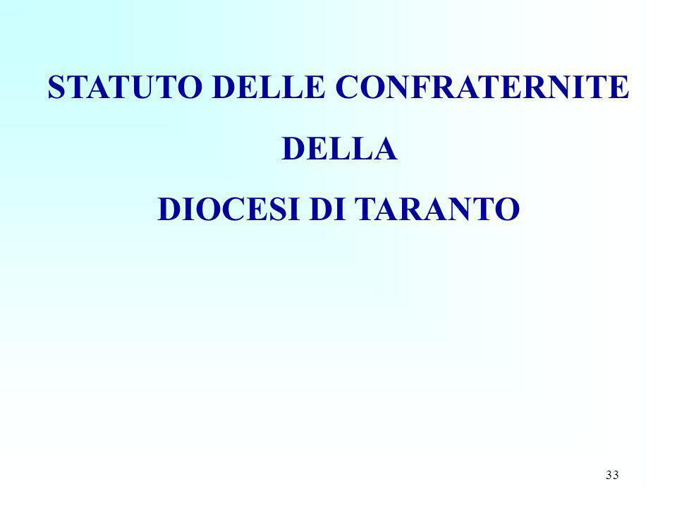 33 STATUTO DELLE CONFRATERNITE DELLA DIOCESI DI TARANTO