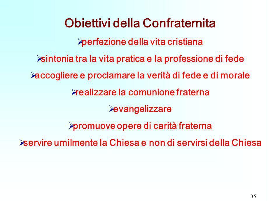 35 Obiettivi della Confraternita perfezione della vita cristiana sintonia tra la vita pratica e la professione di fede accogliere e proclamare la veri