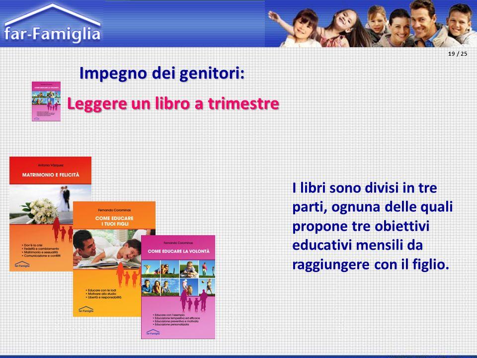 Impegno dei genitori: Impegno dei genitori: Leggere un libro a trimestre I libri sono divisi in tre parti, ognuna delle quali propone tre obiettivi ed