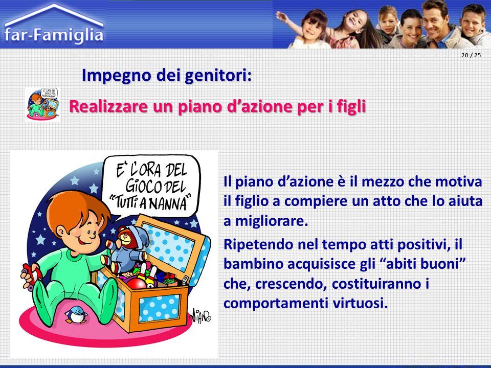 Impegno dei genitori: Impegno dei genitori: Realizzare un piano dazione per i figli Il piano dazione è il mezzo che motiva il figlio a compiere un att