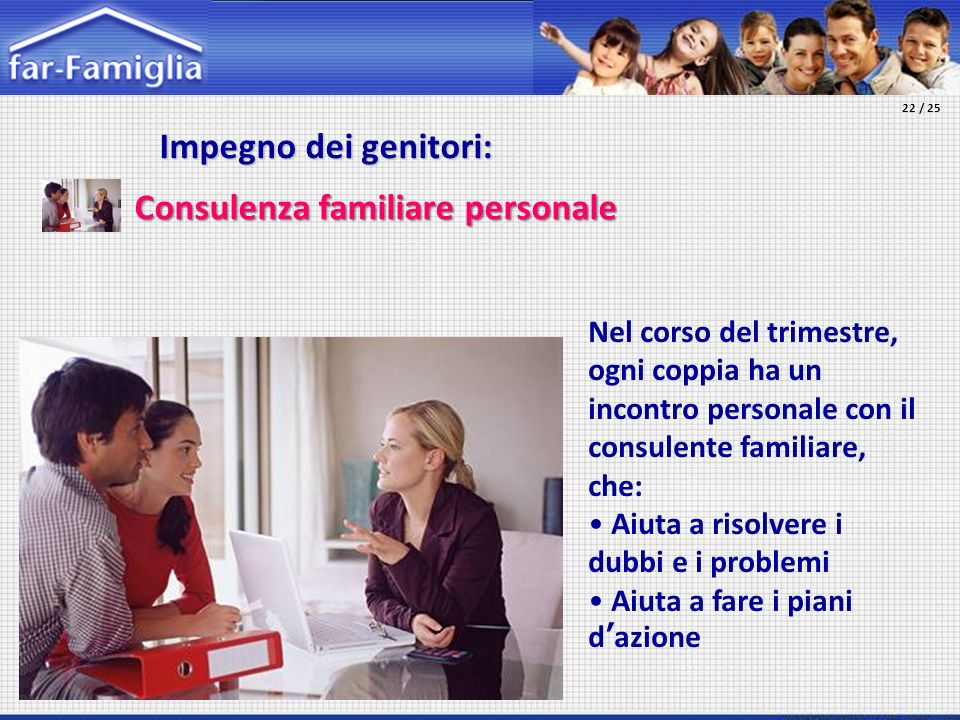 Impegno dei genitori: Impegno dei genitori: Consulenza familiare personale Nel corso del trimestre, ogni coppia ha un incontro personale con il consul