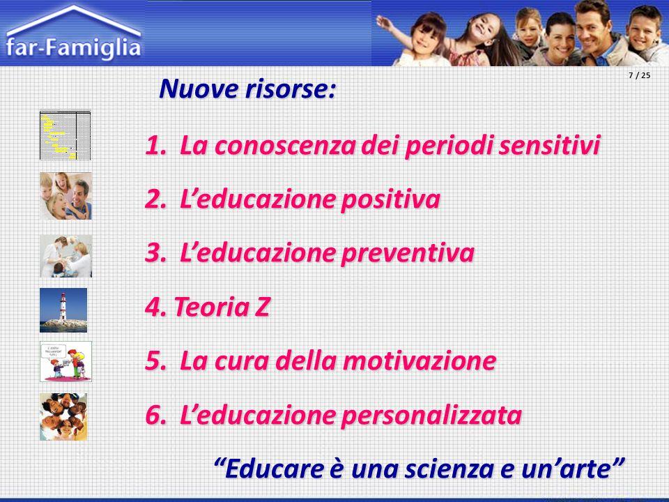 Nuove risorse: Nuove risorse: 1. La conoscenza dei periodi sensitivi 2. Leducazione positiva 3. Leducazione preventiva 4.Teoria Z 5. La cura della mot