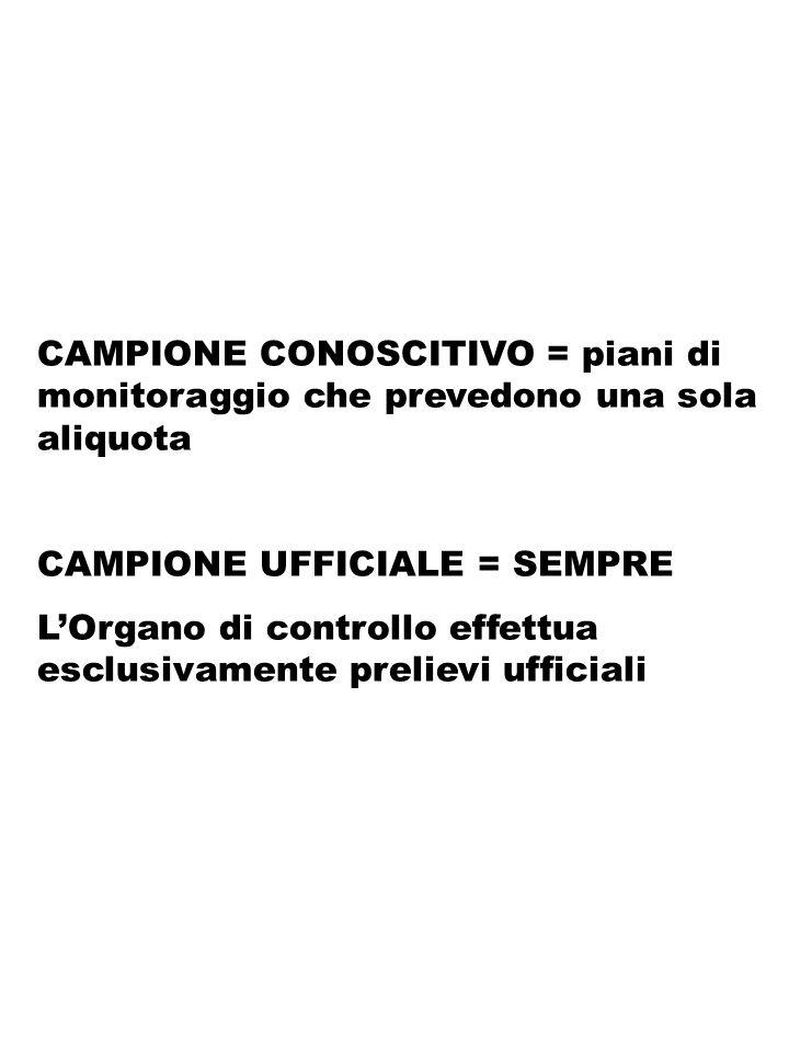 CAMPIONE CONOSCITIVO = piani di monitoraggio che prevedono una sola aliquota CAMPIONE UFFICIALE = SEMPRE LOrgano di controllo effettua esclusivamente
