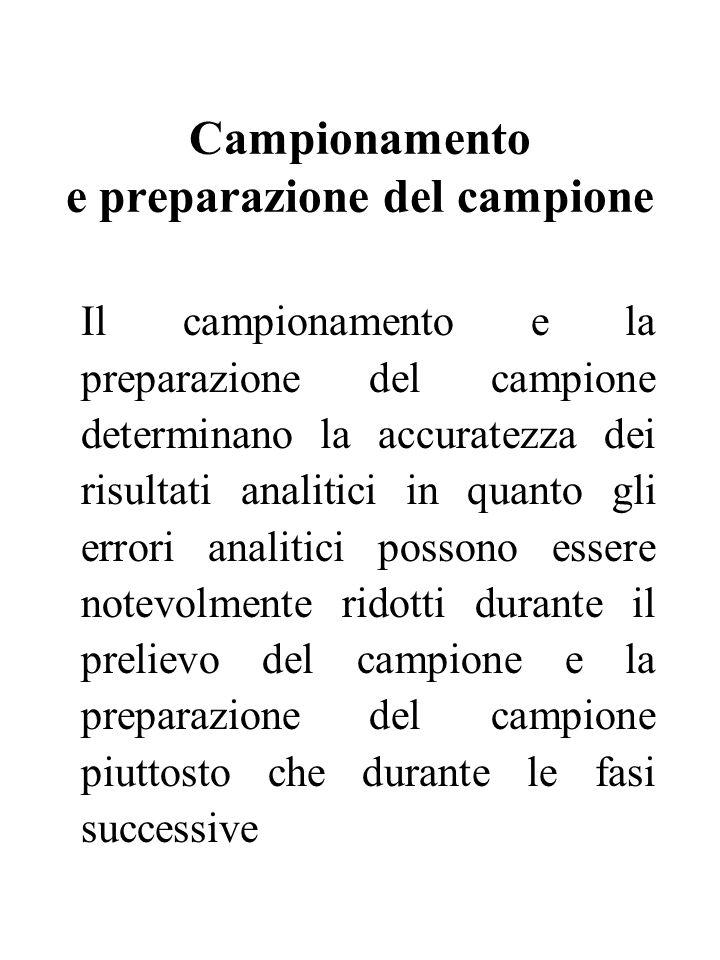 Campionamento e preparazione del campione Il campionamento e la preparazione del campione determinano la accuratezza dei risultati analitici in quanto