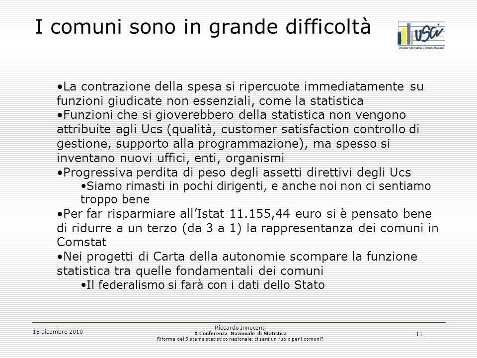 11 15 dicembre 2010 Riccardo Innocenti X Conferenza Nazionale di Statistica Riforma del Sistema statistico nazionale: ci sarà un ruolo per i comuni? I
