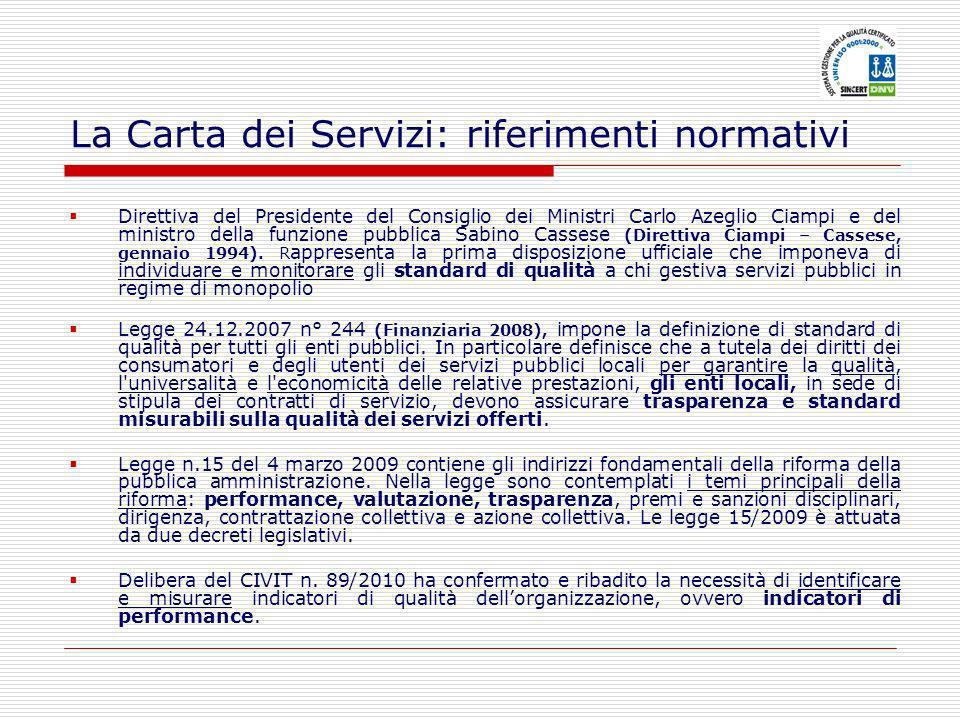 La Carta dei Servizi: riferimenti normativi Direttiva del Presidente del Consiglio dei Ministri Carlo Azeglio Ciampi e del ministro della funzione pubblica Sabino Cassese (Direttiva Ciampi – Cassese, gennaio 1994).
