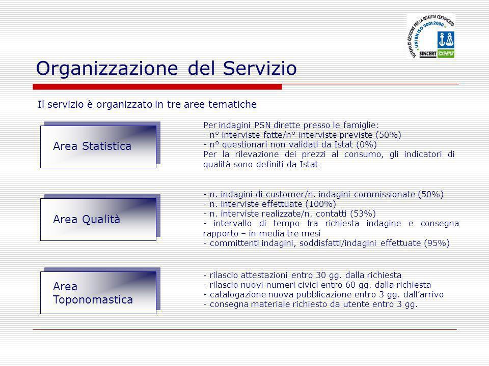 Il servizio è organizzato in tre aree tematiche Organizzazione del Servizio Per indagini PSN dirette presso le famiglie: - n° interviste fatte/n° inte