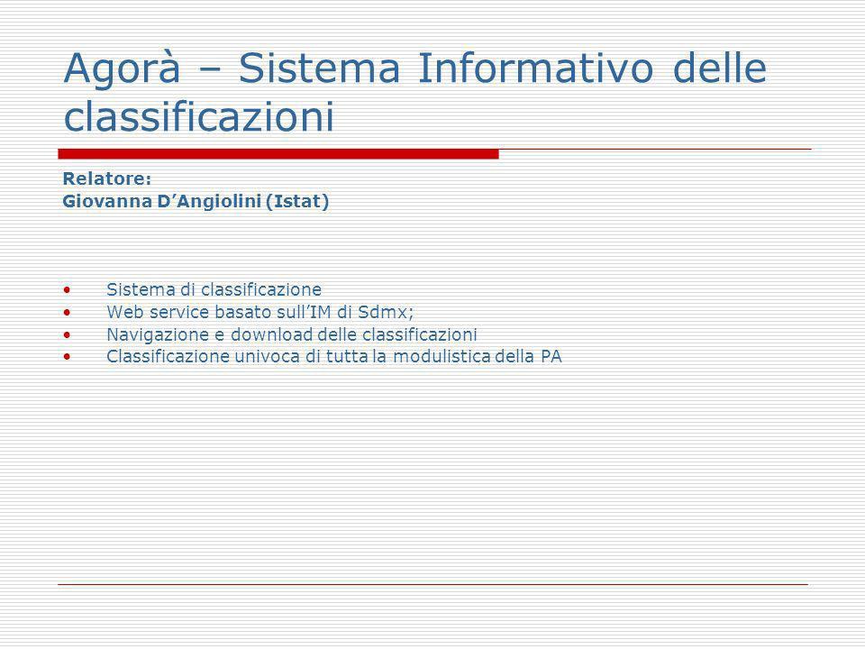 Agorà – Sistema Informativo delle classificazioni Relatore: Giovanna DAngiolini (Istat) Sistema di classificazione Web service basato sullIM di Sdmx; Navigazione e download delle classificazioni Classificazione univoca di tutta la modulistica della PA