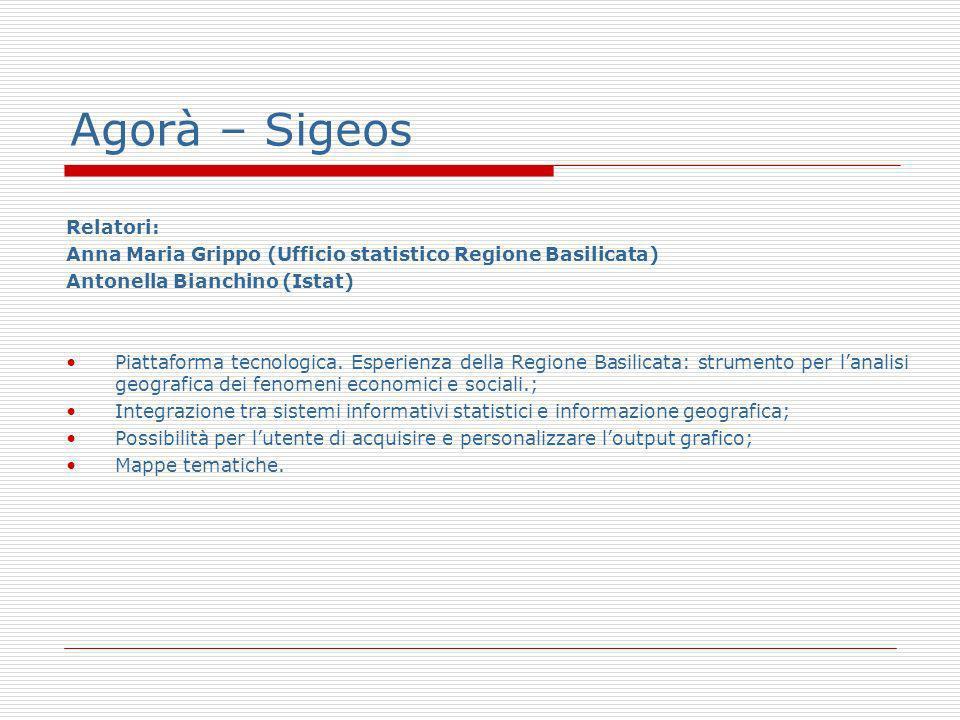 Agorà – Sigeos Relatori: Anna Maria Grippo (Ufficio statistico Regione Basilicata) Antonella Bianchino (Istat) Piattaforma tecnologica.