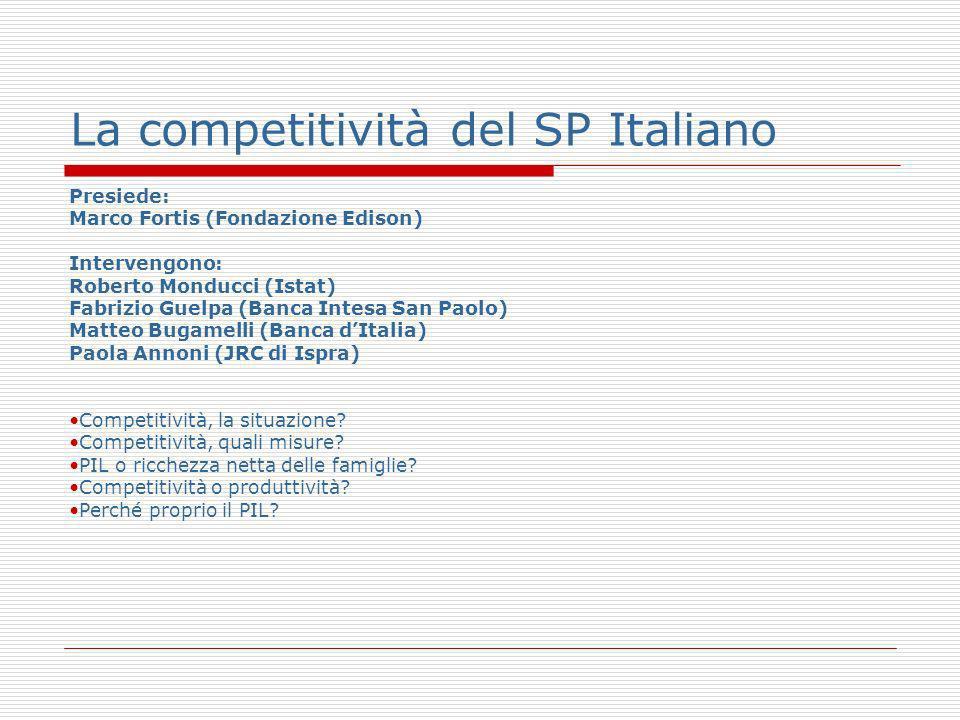 La competitività del SP Italiano Presiede: Marco Fortis (Fondazione Edison) Intervengono: Roberto Monducci (Istat) Fabrizio Guelpa (Banca Intesa San Paolo) Matteo Bugamelli (Banca dItalia) Paola Annoni (JRC di Ispra) Competitività, la situazione.