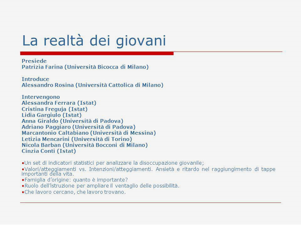 La realtà dei giovani Presiede Patrizia Farina (Università Bicocca di Milano) Introduce Alessandro Rosina (Università Cattolica di Milano) Intervengon