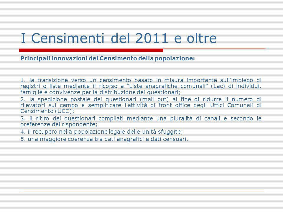 I Censimenti del 2011 e oltre Principali innovazioni del Censimento della popolazione: 1.