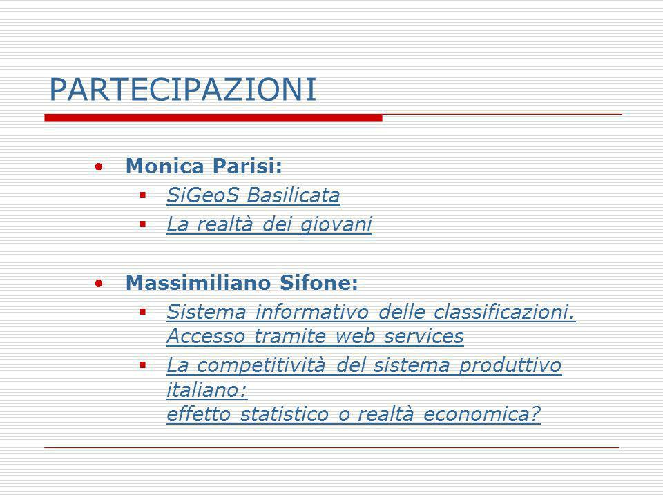 PARTECIPAZIONI Monica Parisi: SiGeoS Basilicata La realtà dei giovani Massimiliano Sifone: Sistema informativo delle classificazioni.