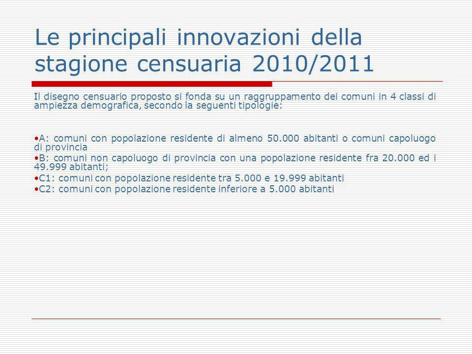 Le principali innovazioni della stagione censuaria 2010/2011 Il disegno censuario proposto si fonda su un raggruppamento dei comuni in 4 classi di amp
