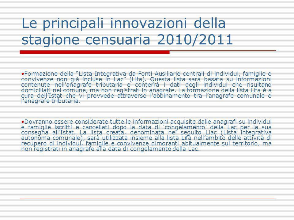 Le principali innovazioni della stagione censuaria 2010/2011 Formazione della Lista Integrativa da Fonti Ausiliarie centrali di individui, famiglie e convivenze non già incluse in Lac (Lifa).