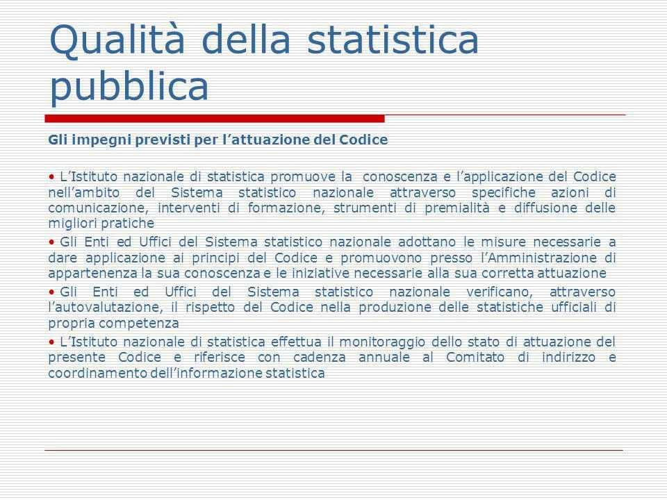 Qualità della statistica pubblica Gli impegni previsti per lattuazione del Codice LIstituto nazionale di statistica promuove la conoscenza e lapplicaz