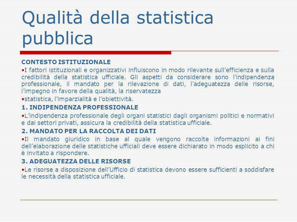 Qualità della statistica pubblica CONTESTO ISTITUZIONALE I fattori istituzionali e organizzativi influiscono in modo rilevante sullefficienza e sulla credibilità della statistica ufficiale.