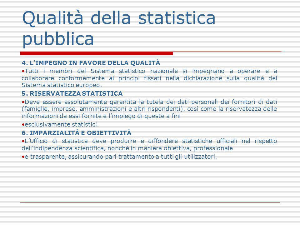 Qualità della statistica pubblica 4. LIMPEGNO IN FAVORE DELLA QUALITÀ Tutti i membri del Sistema statistico nazionale si impegnano a operare e a colla