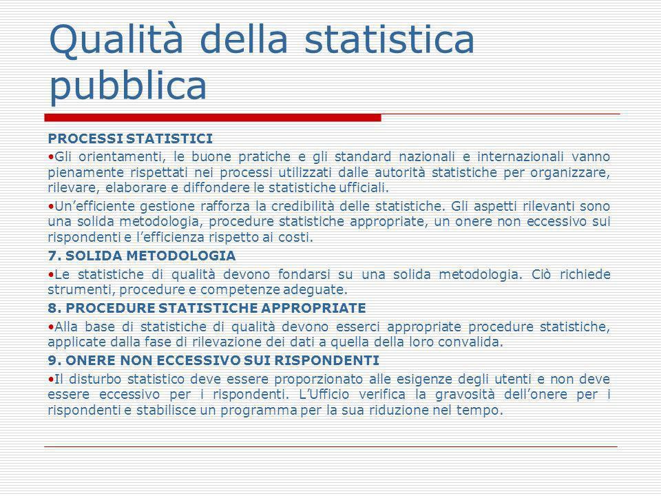 Qualità della statistica pubblica PROCESSI STATISTICI Gli orientamenti, le buone pratiche e gli standard nazionali e internazionali vanno pienamente rispettati nei processi utilizzati dalle autorità statistiche per organizzare, rilevare, elaborare e diffondere le statistiche ufficiali.