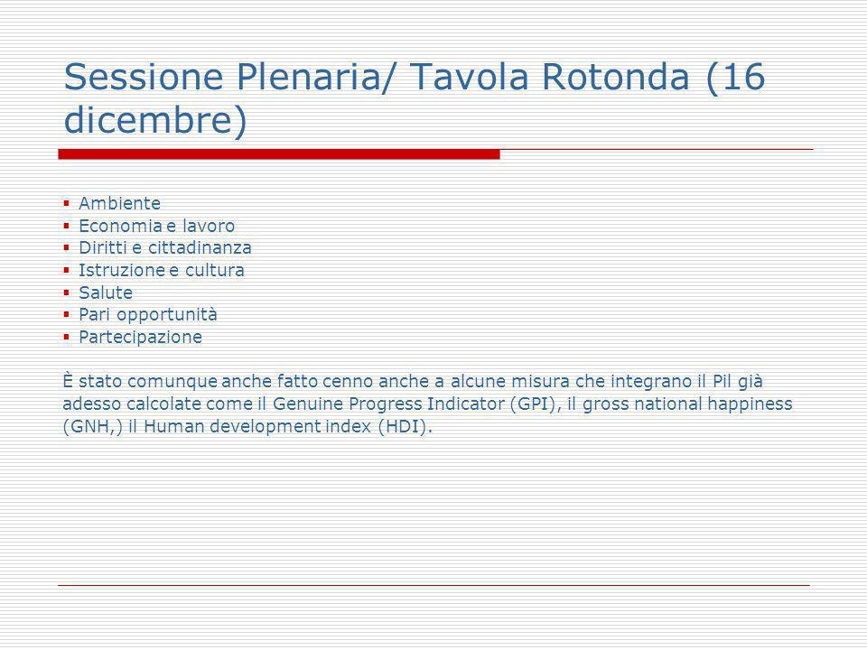Sessione Plenaria/ Tavola Rotonda (16 dicembre) Ambiente Economia e lavoro Diritti e cittadinanza Istruzione e cultura Salute Pari opportunità Parteci