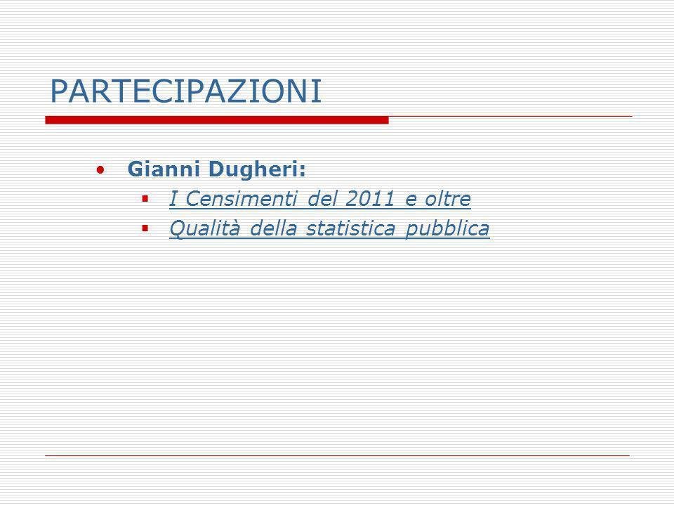 PARTECIPAZIONI Gianni Dugheri: I Censimenti del 2011 e oltre Qualità della statistica pubblica