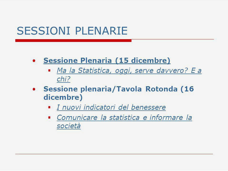 SESSIONI PLENARIE Sessione Plenaria (15 dicembre) Ma la Statistica, oggi, serve davvero? E a chi? Ma la Statistica, oggi, serve davvero? E a chi? Sess