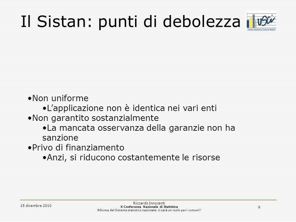 9 15 dicembre 2010 Riccardo Innocenti X Conferenza Nazionale di Statistica Riforma del Sistema statistico nazionale: ci sarà un ruolo per i comuni? Il