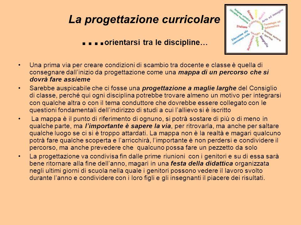 La progettazione curricolare ….