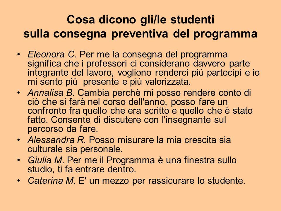 Cosa dicono gli/le studenti sulla consegna preventiva del programma Eleonora C.