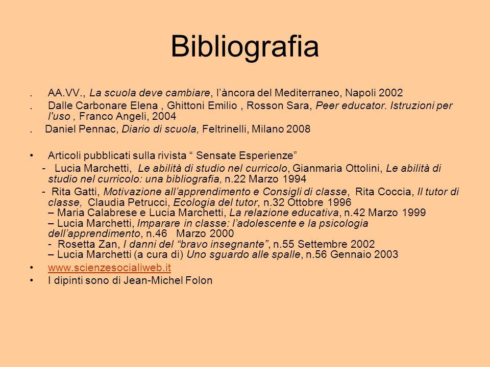 Bibliografia.AA.VV., La scuola deve cambiare, làncora del Mediterraneo, Napoli 2002.