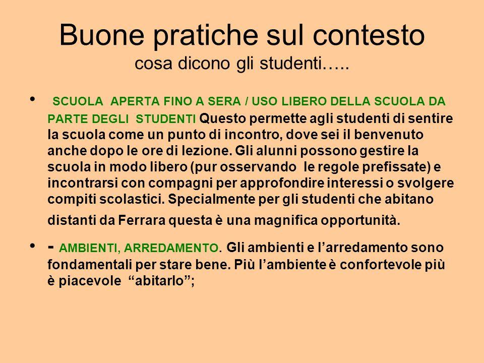 Buone pratiche sul contesto cosa dicono gli studenti…..