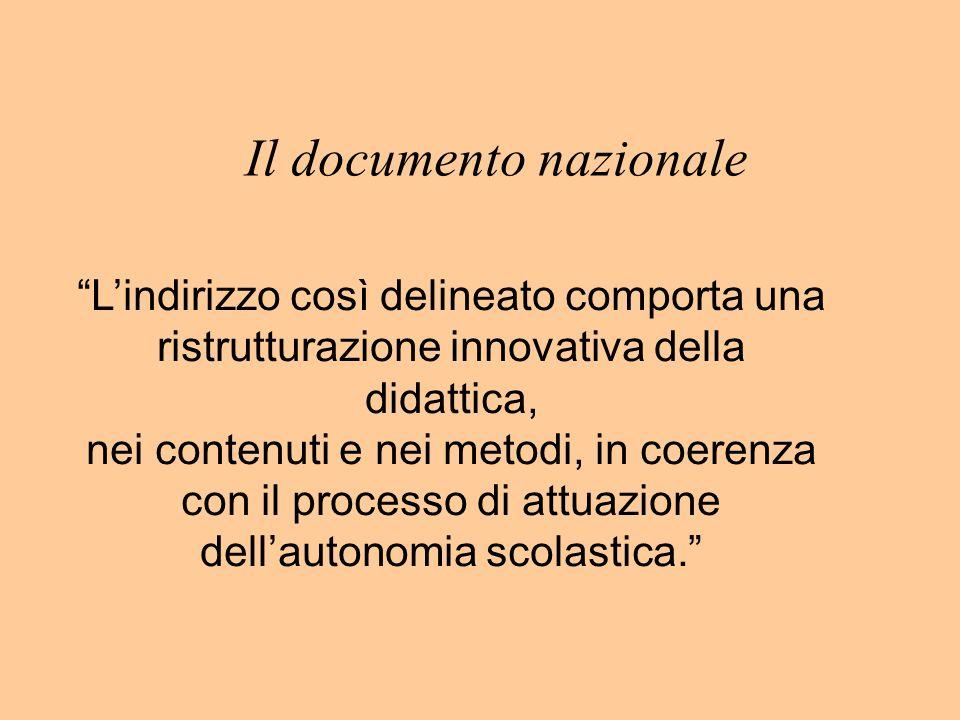 Il documento nazionale Lindirizzo così delineato comporta una ristrutturazione innovativa della didattica, nei contenuti e nei metodi, in coerenza con il processo di attuazione dellautonomia scolastica.