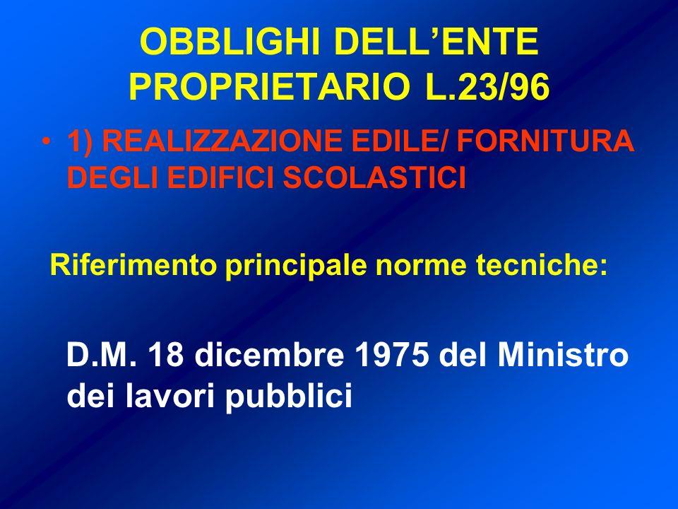 OBBLIGHI DELLENTE PROPRIETARIO L.23/96 1) REALIZZAZIONE EDILE/ FORNITURA DEGLI EDIFICI SCOLASTICI Riferimento principale norme tecniche: D.M.