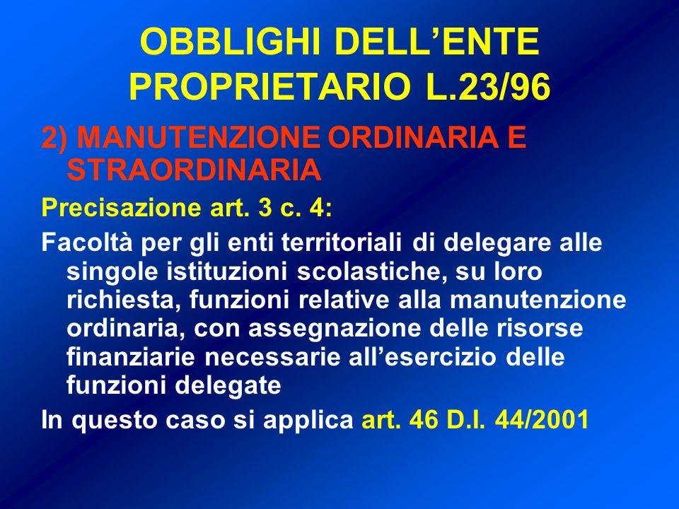OBBLIGHI DELLENTE PROPRIETARIO L.23/96 2) MANUTENZIONE ORDINARIA E STRAORDINARIA Precisazione art.