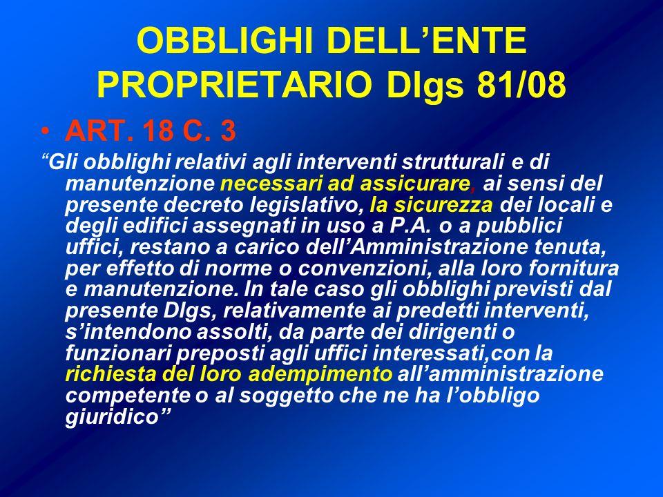 OBBLIGHI DELLENTE PROPRIETARIO Dlgs 81/08 ART.18 C.