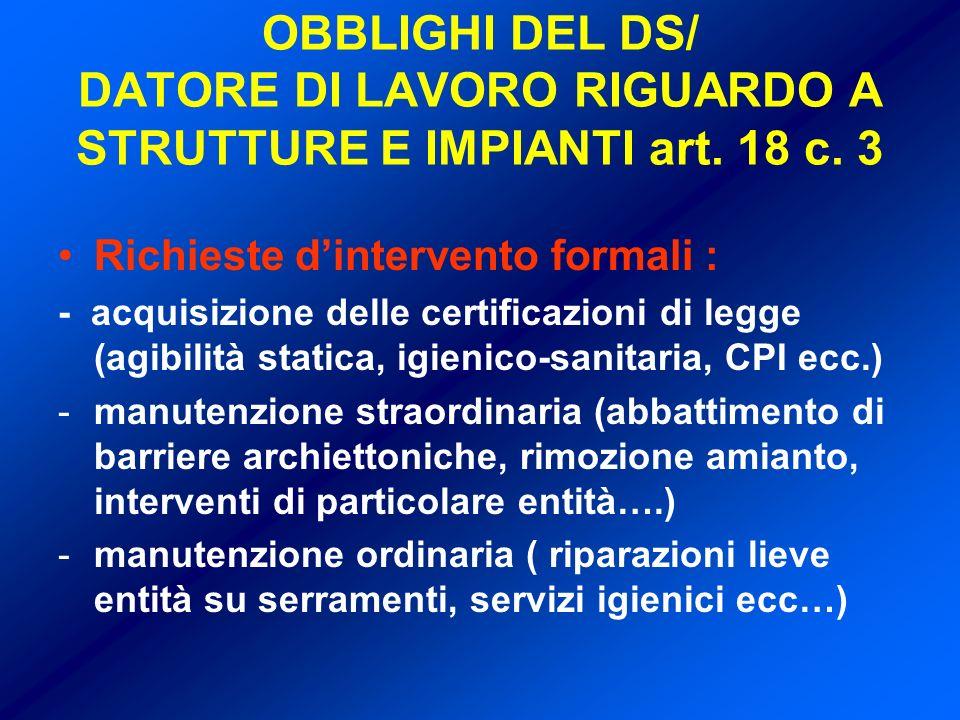 OBBLIGHI DEL DS/ DATORE DI LAVORO RIGUARDO A STRUTTURE E IMPIANTI art.