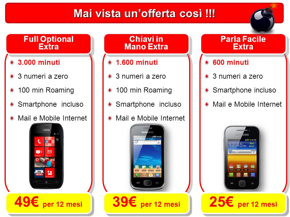 Full Optional Extra 3.000 minuti 3 numeri a zero 100 min Roaming Smartphone incluso Mail e Mobile Internet Parla Facile Extra 600 minuti 3 numeri a zero Smartphone incluso Mail e Mobile Internet Chiavi in Mano Extra 1.600 minuti 3 numeri a zero 100 min Roaming Smartphone incluso Mail e Mobile Internet Mai vista unofferta così !!.