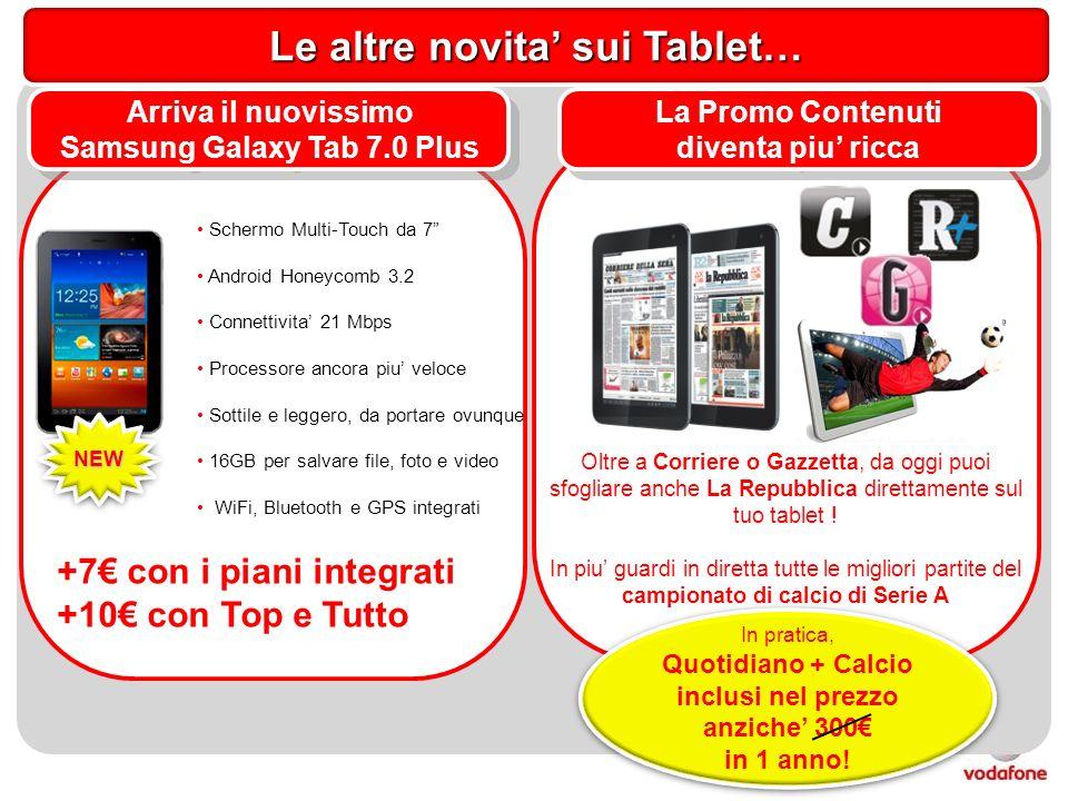 Schermo Multi-Touch da 7 Android Honeycomb 3.2 Connettivita 21 Mbps Processore ancora piu veloce Sottile e leggero, da portare ovunque 16GB per salvare file, foto e video WiFi, Bluetooth e GPS integrati Arriva il nuovissimo Samsung Galaxy Tab 7.0 Plus Arriva il nuovissimo Samsung Galaxy Tab 7.0 Plus NEWNEW +7 con i piani integrati +10 con Top e Tutto Le altre novita sui Tablet… La Promo Contenuti diventa piu ricca La Promo Contenuti diventa piu ricca Oltre a Corriere o Gazzetta, da oggi puoi sfogliare anche La Repubblica direttamente sul tuo tablet .