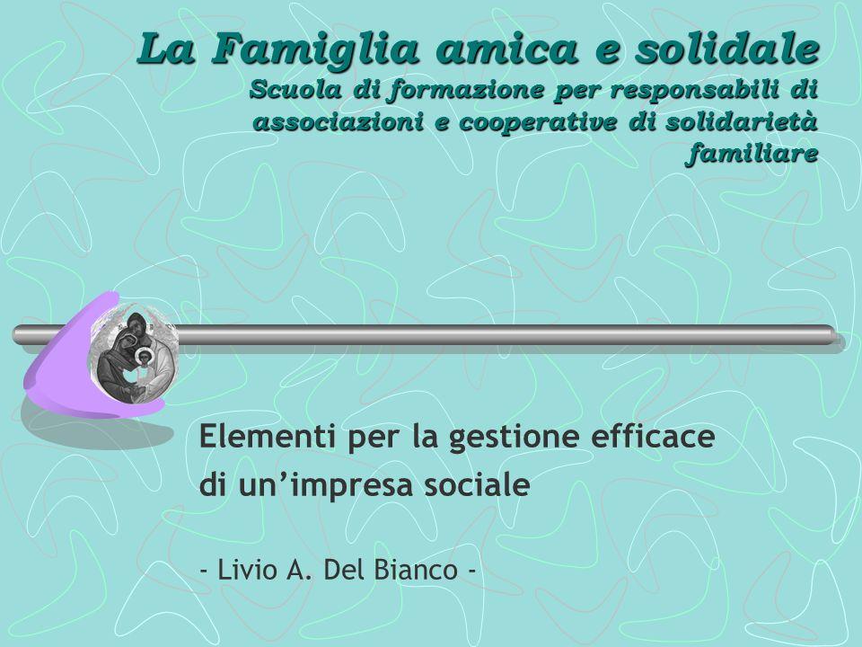 La Famiglia amica e solidale Scuola di formazione per responsabili di associazioni e cooperative di solidarietà familiare Elementi per la gestione efficace di unimpresa sociale - Livio A.