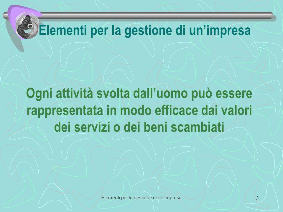Elementi per la gestione di un impresa 3 Elementi per la gestione di unimpresa Ogni attività svolta dalluomo può essere rappresentata in modo efficace dai valori dei servizi o dei beni scambiati