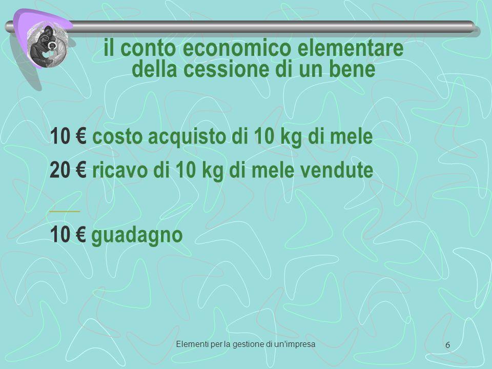 Elementi per la gestione di un impresa 6 il conto economico elementare della cessione di un bene 10 costo acquisto di 10 kg di mele 20 ricavo di 10 kg di mele vendute ___ 10 guadagno