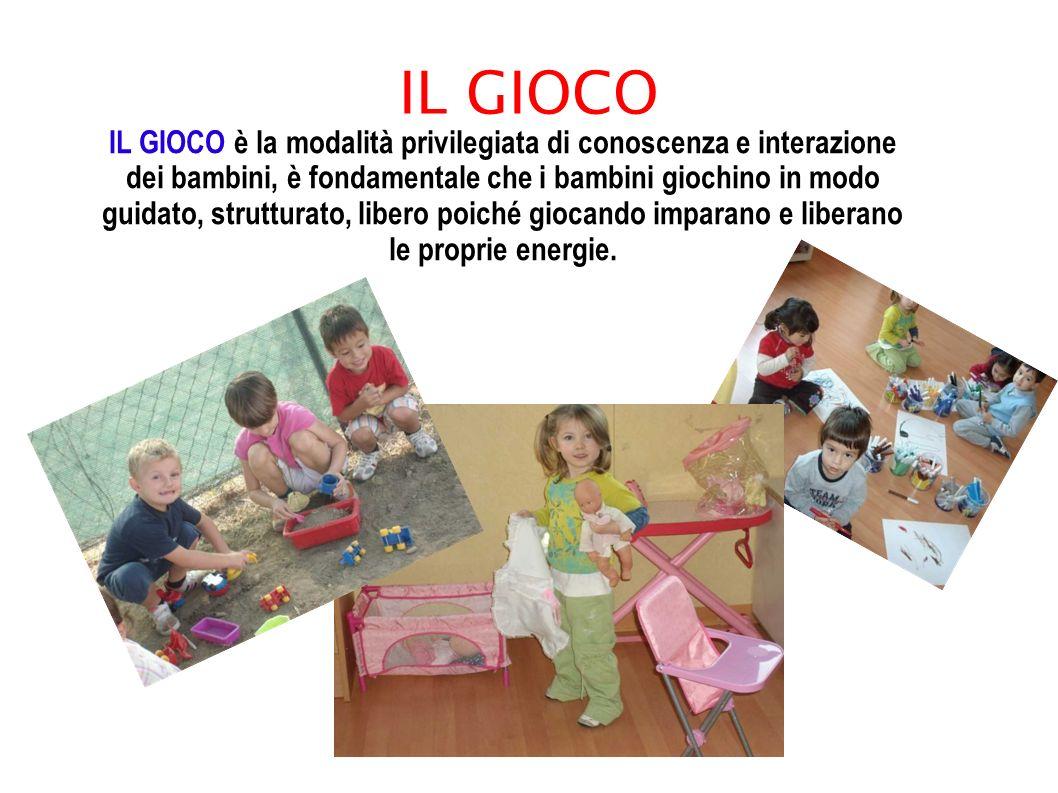 IL GIOCO IL GIOCO è la modalità privilegiata di conoscenza e interazione dei bambini, è fondamentale che i bambini giochino in modo guidato, struttura