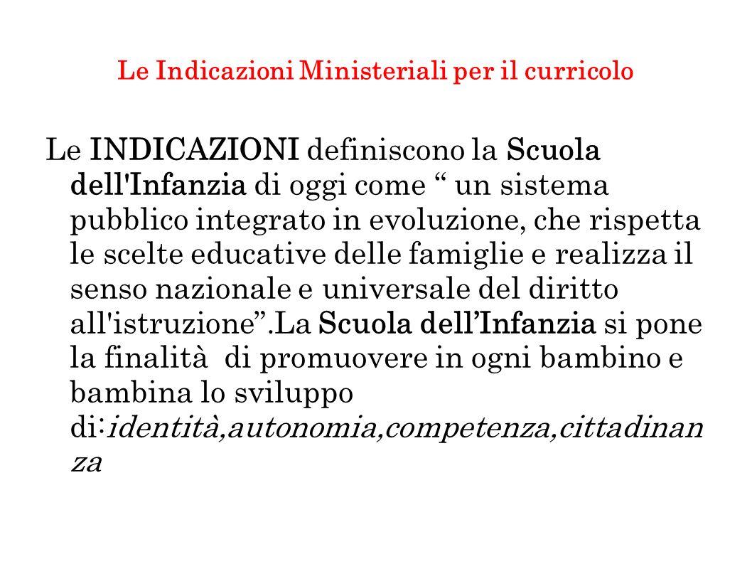 Le Indicazioni Ministeriali per il curricolo Le INDICAZIONI definiscono la Scuola dell'Infanzia di oggi come un sistema pubblico integrato in evoluzio